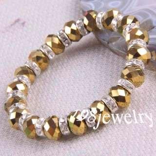 Gold Swarovski Crystal beads Stretch Bracelet TH538