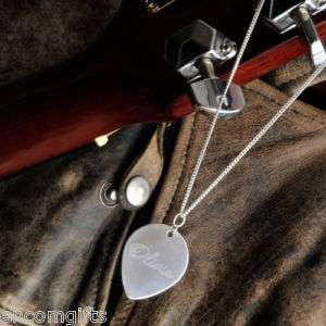 Sterling Silver Guitar Pick Pendant Necklace Engraved