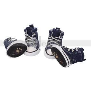 Blue No.5 Pet Dog Puppy Shoes Canvas Shoes Boots Sport Sneakers rubber