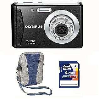T100 Black 12MP Digital Camera, 4GB SD card & Blue Carry Case  Olympus