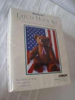 CARON WONDERART #4301 LATCH HOOK KIT ALL AMERICAN BEAR 026926943016