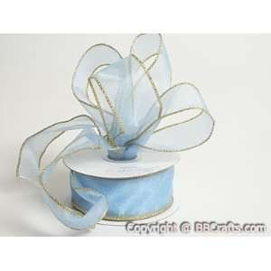 Ribbon Wire Edge 10 Yards 7/8 inch 10 Yards, Light Blue with Gold Edge