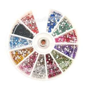 1200 x 3mm Nail Art Rhinestones Glitters Wheel 12 Colors