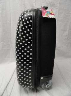 Hello Kitty Suitcase Black w/ White Polka Dots Carry On Luggage