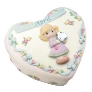 Precious Moments Birthday Heart Covered Box   April