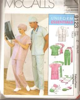 McCalls 9123 Scrubs Lab Coat Uniform Xlg XXL Pattern