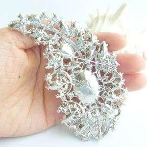 Pretty Bridal Leaf Flower Brooch Pin w Clear Rhinestone Crystals