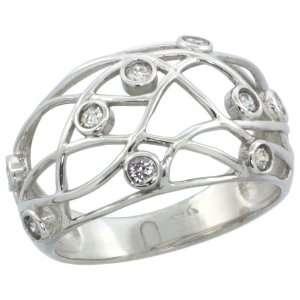 14k White Gold Wire Dome Diamond Ring w/ 0.32 Carat Brilliant Cut ( H