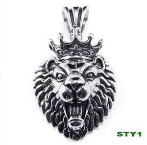 stainless steel 3D Crown Lion pendant necklace Men 316L