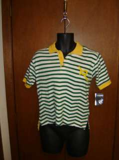 ROCAWEAR Mens Green w/White Stripes Polo Style Shirt Size Small (NWT