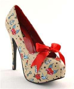 PINUP Rockabilly Tattoo Print Cream High Heels Shoes