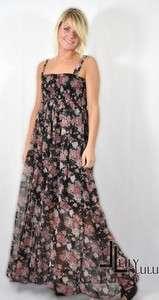Long Maxi Boho black rose DRESS 6 8 10 12 14 16 18 20