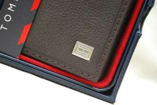 TOMMY HILFIGER MENS BROWN LEATHER TRIFOLD & VALET ID WALLET