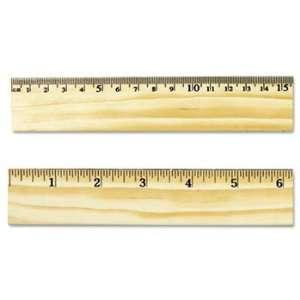 Universal 59021   Flat Wood Ruler w/Double Metal Edge, 12