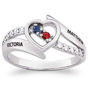 Sterling Silver Couples Genuine Birthstone & Name Cubic Zirconia CZ