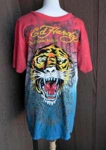 Ed Hardy Mens Sz L Red Blue Tiger Skull Rhinestone T Shirt Christian