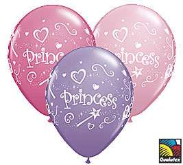 Princess Crown Wand Pink Purple Party Latex Balloons