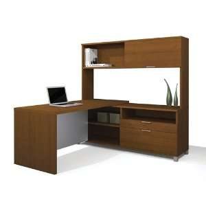 White L shaped Corner Computer Desk with Hutch