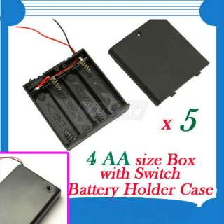 New 4 AA 2A Battery 6V Holder Box Case with Switch 7 Lead Black