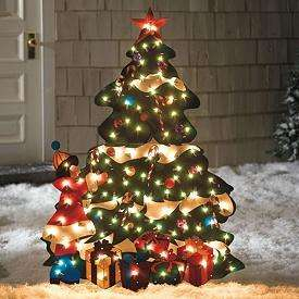 Outdoor Holiday Lighted CHRISTMAS TREE Metal Yard Art Decor NEW 4ft