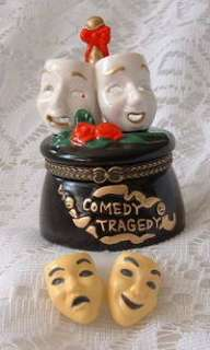 THEATRE MASKS of COMEDY & TRAGEDY PORCELAIN HINGED BOX