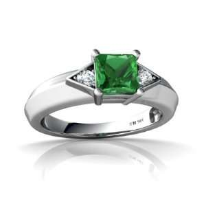 14K White Gold Square Created Emerald Ring Size 7.5 Jewelry