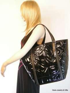 DKNY Logo Purse Tote XL Huge Shoulder Hand Bag Black Patent Quilted