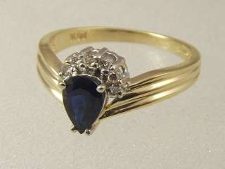 14 KT GOLD PEAR SHAPE SAPPHIRE DIAMOND ENGAGEMENT RING