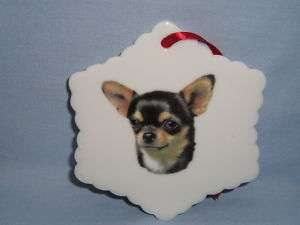 Chihuahua Dog Black Snowflake Christmas Tree Ornament H