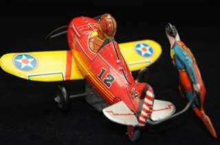 SUPERMAN ROLLOVER PLANE BY MARX VERY RARE SUPER HERO TIN TOY AIRPLANE