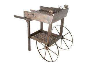 Garden Cart Rolling Wooden Plant Stand Planter Potting Bench