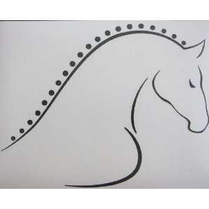 Med Black Line Art Braided Mane Horse Vinyl Car Decal