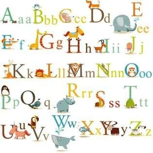 CC Animals Alphabet Baby Nursery Peel & Stick Wall Art Sticker Decals