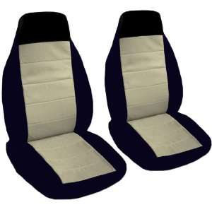 2 black and sand car seat covers for a 2002 Ford Focus