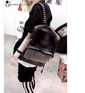 Punk Unisex Bloodycat Black Leather Spike Stud Backpack