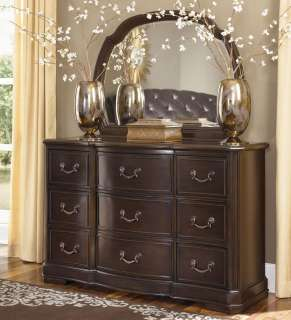 TRADITIONAL WOOD & LEATHER QUEEN KING SLEIGH BEDROOM SET FURNITURE