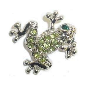 Silverplated & Green Crystal Frog Tac Pin Jewelry