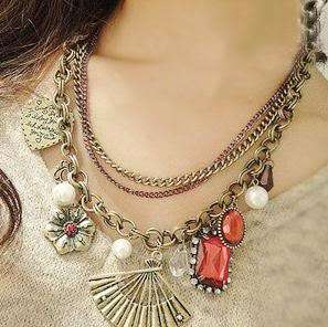chic Vintage Fan Heart Red Stone Valentines Necklace N426