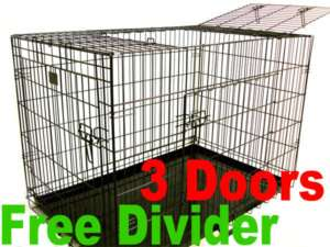 48 3 Door Black Folding Dog Crate Cage Kennel Three 2