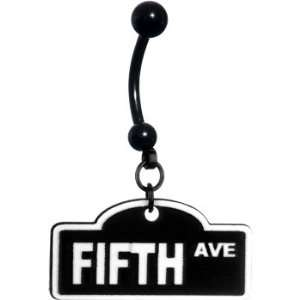 Black Fifth Avenue Street Sign Belly Ring Jewelry