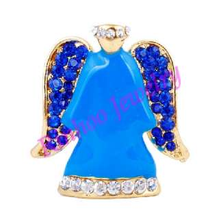 wholesale 6X Alloy rhinestone angel Brooch pin for Christmas with