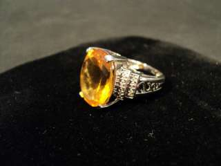 GORGEOUS 14K WHITE GOLD DIAMOND & CITRINE COCKTAIL RING