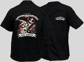 NEW MENS ROCKABILLY WORKSHIRT PINUP TATTOO WORK SHIRT