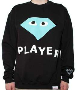 Diamond Supply Co. Player Crewneck Sweatshirt   Black/Diamond Blue