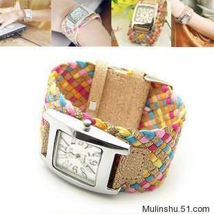 Fashion Girls Lady Candy Braided Rope Wrap Wrist Watch