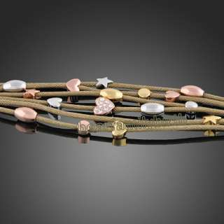 18K rose gold GP swarovski crystal rope bracelet B132