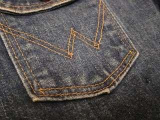 Vintage Mens Wrangler Blue Denim Jean Motorcycle Rancher Jacket Sz 44
