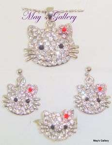 Hello Kitty Necklace Earrings Earring Ring Gift Set 4p