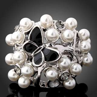 Arinna Swarovski Crystal pearls butterfly fashion Ring