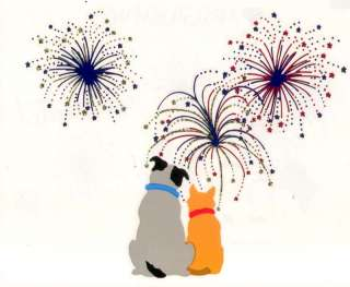 Mrs. Grossmans July 4th Fireworks Cats Dogs Stickers